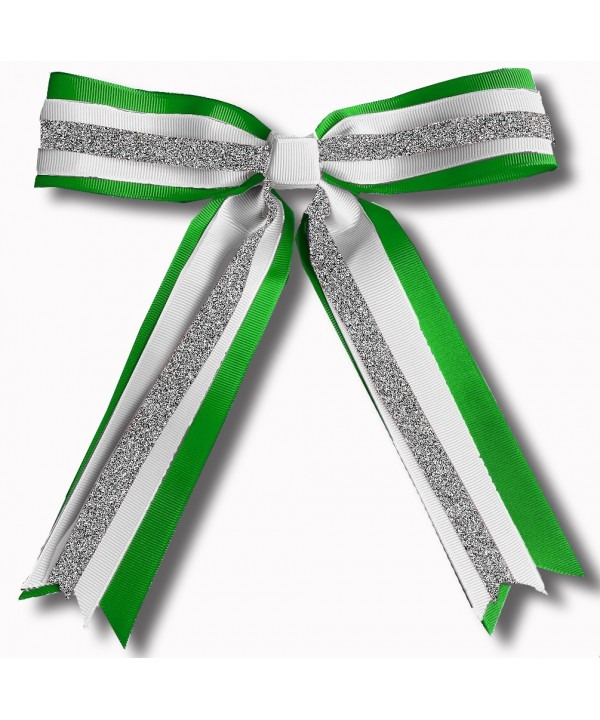 Cheer Hair Ribbon Green Silver White