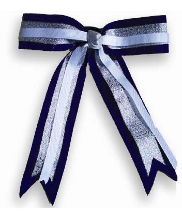 Cheer Hair Ribbon Navy Silver White