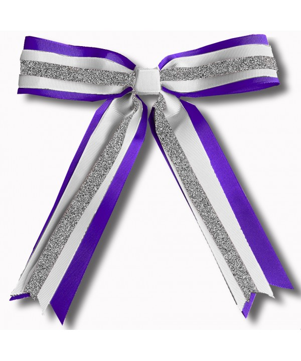 Cheer Hair Ribbon Purple Silver White
