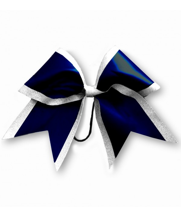 Cheer Hair Ribbon White Navy