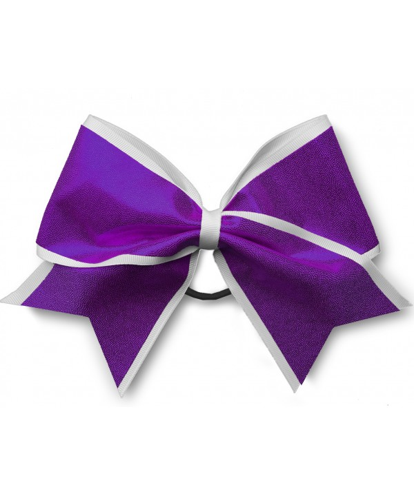 Cheer Hair Ribbon White Purple