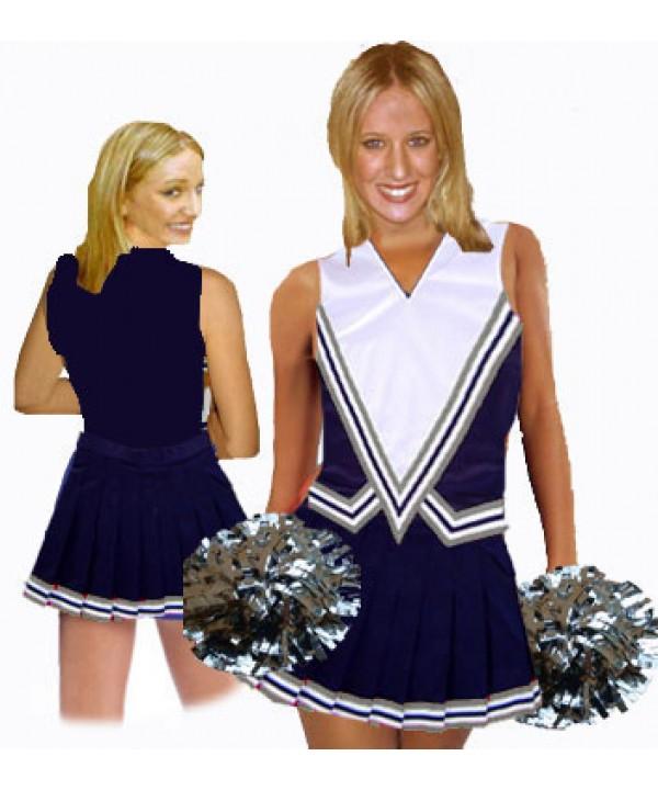 Cheerleader Kostüm 9001 Marine  Weiß  Grau