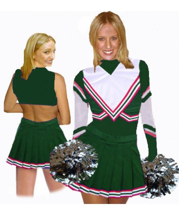 Cheerleading Kostüm 3 Teiler 9001tp Flaschengrün  Weiß