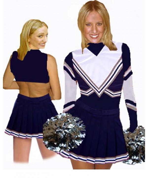 Cheerleading Kostüm 3 Teiler 9001tp Marine  Weiß, Grau
