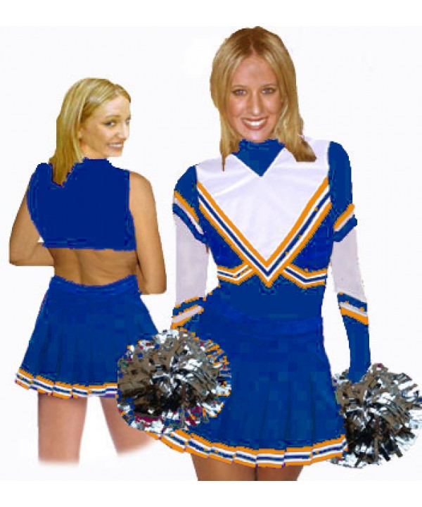 Cheerleading Kostüm 3 Teiler 9001tp Royal  Weiß