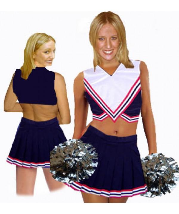 Cheerleader Kostüm 9004 Marine  Rot  Weiß