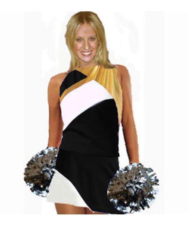 Cheerleader Kostüm 9006 Schwarz  Weiß  Gold