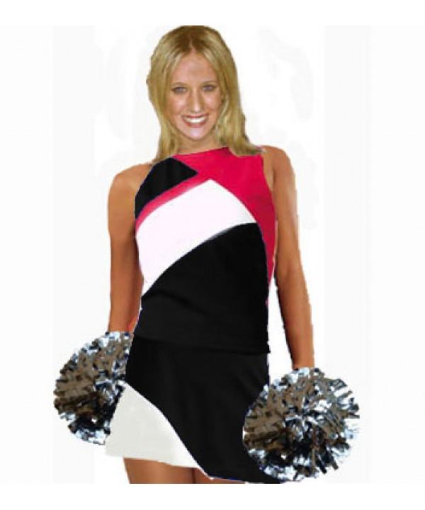 Cheerleader Kostüm 9006 Schwarz  Weiß  Rot