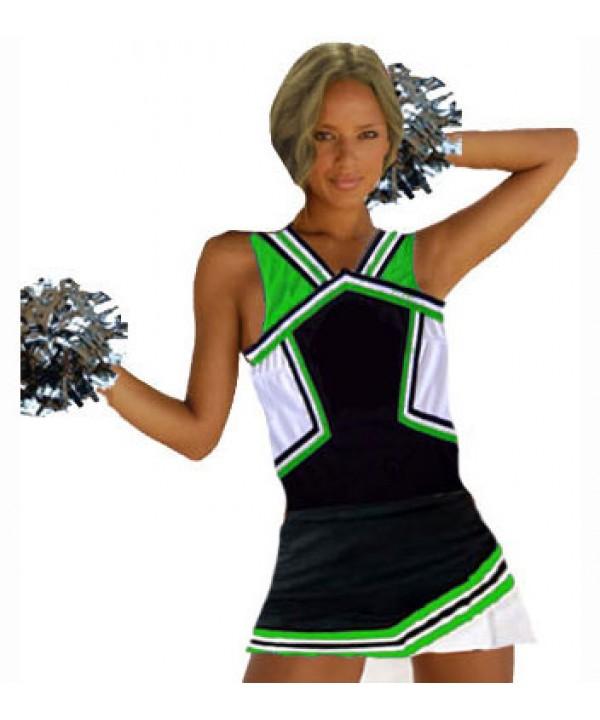 Cheerleader Kostüm 9008b Schwarz  Grün  Weiß