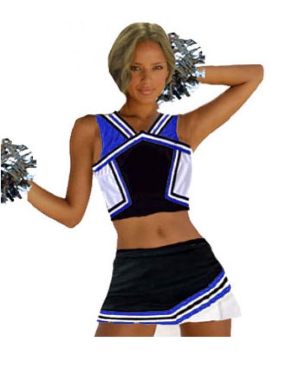 Cheerleader Kostüm 9008b Schwarz  Royal  Weiß