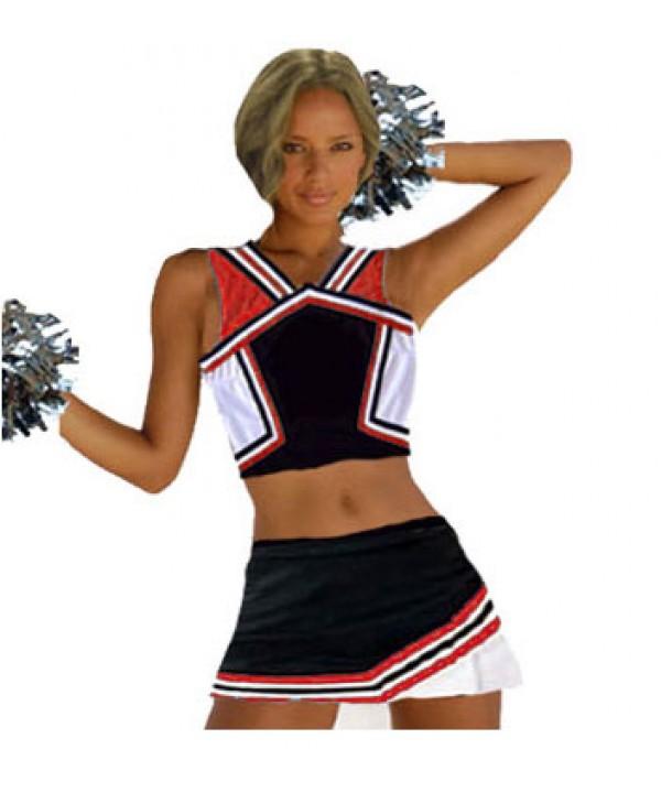 Cheerleader Kostüm 9008b Schwarz  Rot  Weiß