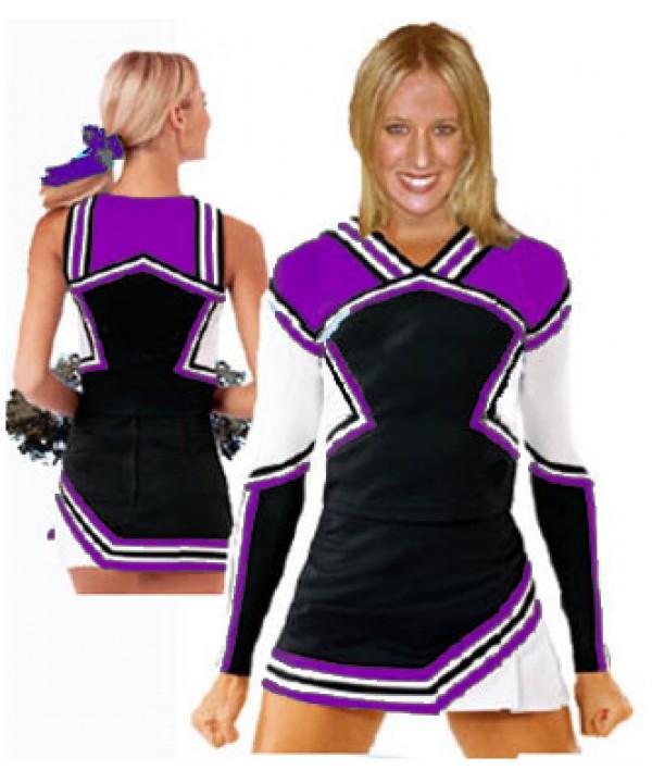 Cheerleader Kostüm 9008b Schwarz  Lila  Weiß