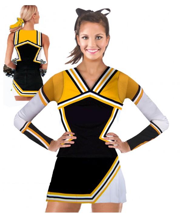 Cheerleading Kostüm 3 Teiler 9008tp Schwarz  Gelb...