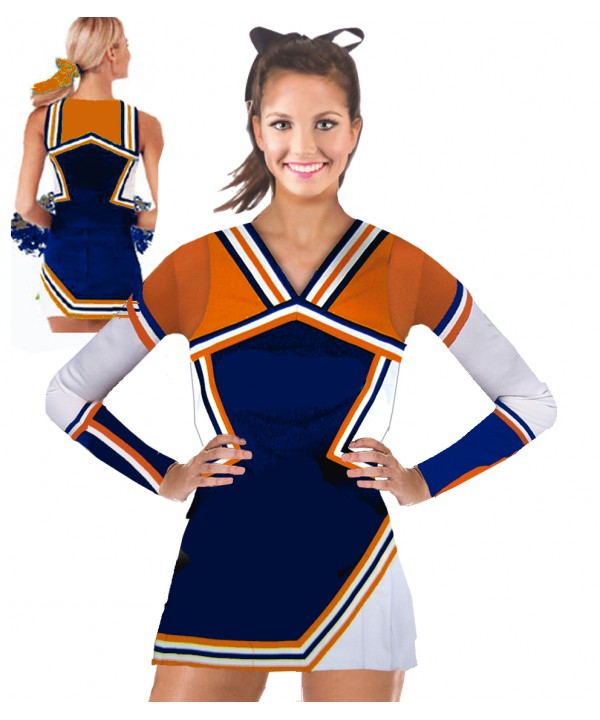 Cheerleading Kostüm 3 Teiler 9008tp Marine  Orang...