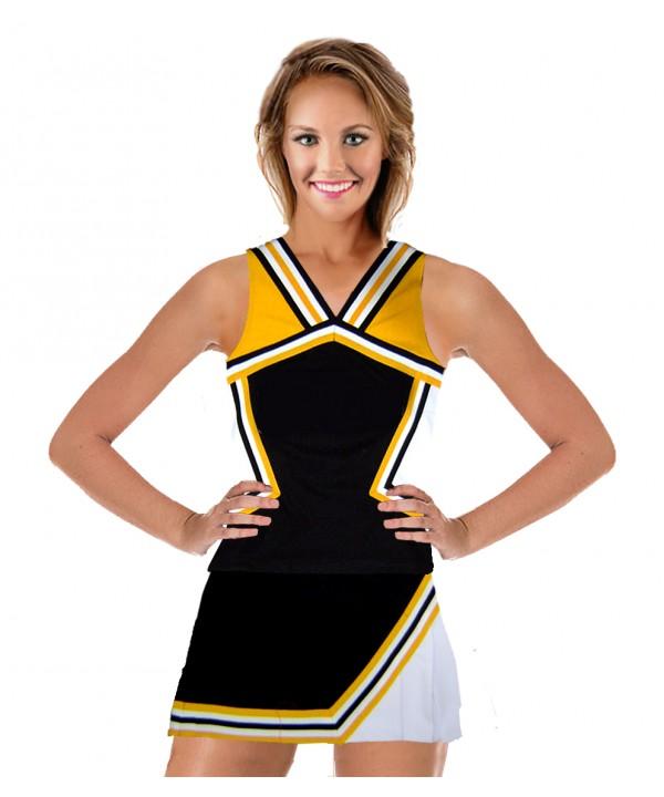Cheerleader Kostüm 9008 Schwarz  Gelb  Weiß