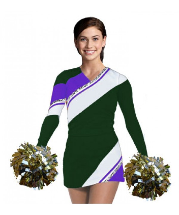 Cheerleading Uniform 3 pcs 90102tp dark green,  wh...