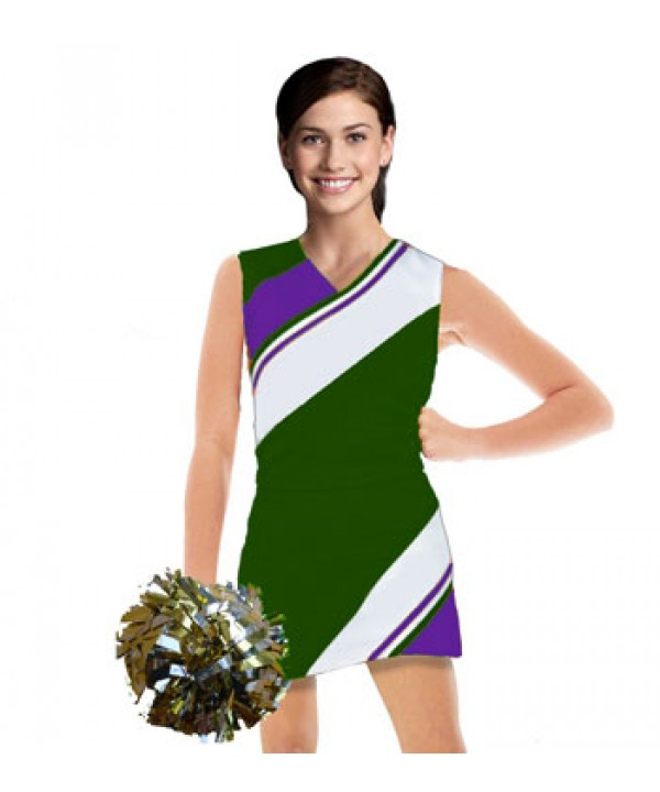 Cheerleader Uniform 90102 dark green,  white,   pu...