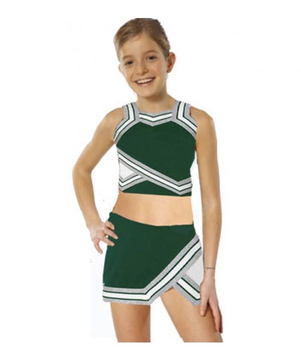 Cheerleader Kostüm 90103b Flaschengrün  Weiß