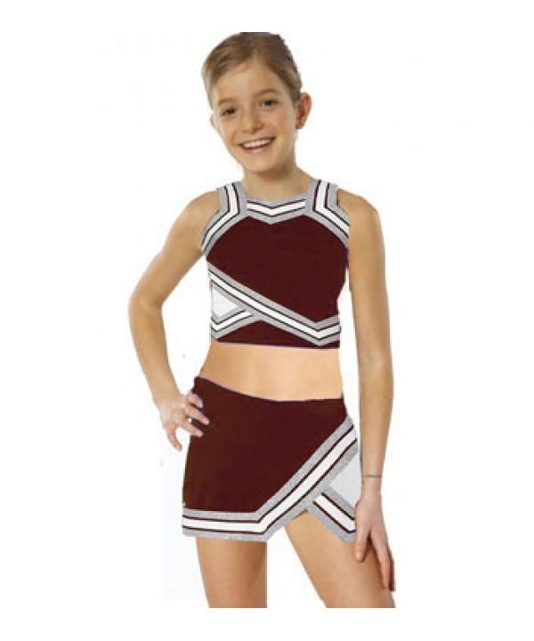 Cheerleader Kostüm 90103b Burgund  Weiß
