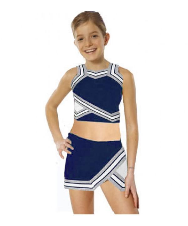 Cheerleader Kostüm 90103b Marine  Weiß