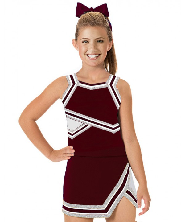 Cheerleader Uniform 90103w maroon,  white,