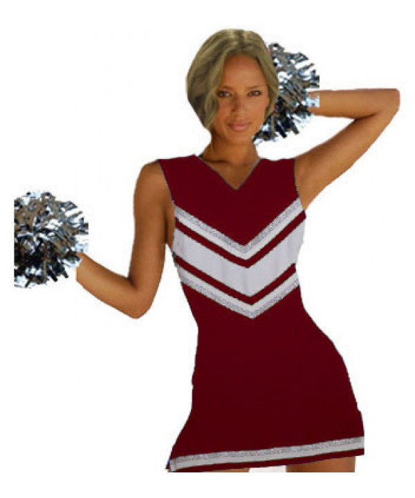 Cheerleader Uniform 9029 maroon,  white,