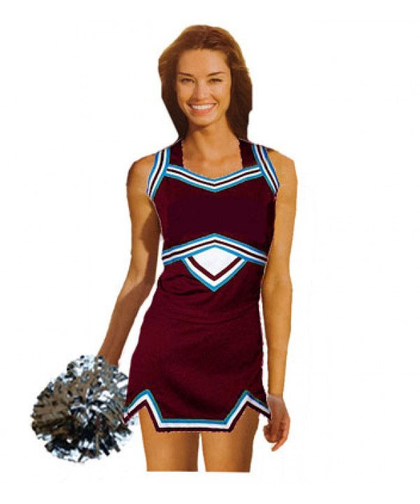 Cheerleader Uniform 9039 maroon,  white,