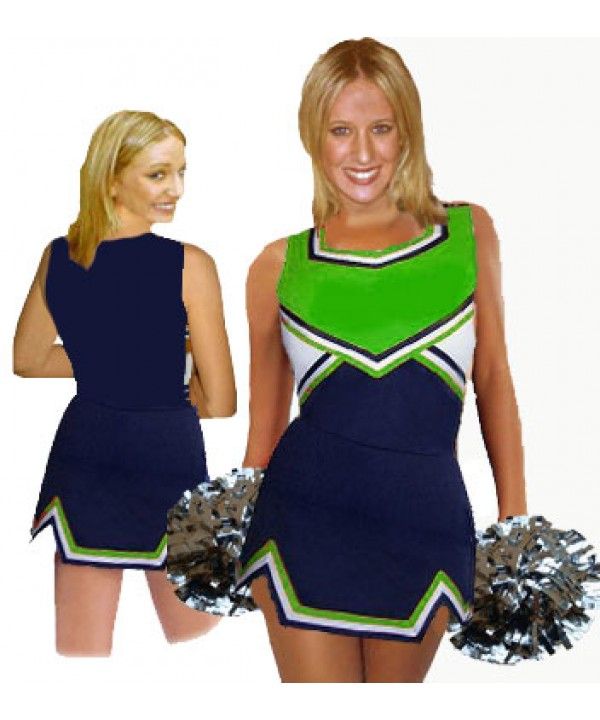 Cheerleader Uniform 9050 navy,  green,   white,