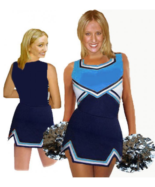 Cheerleader Uniform 9050 navy,  sky blue,   white,
