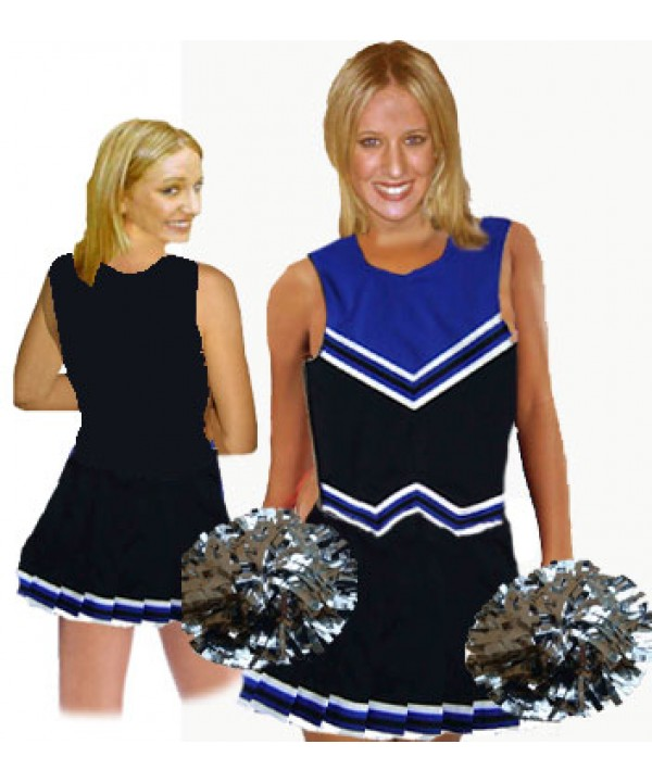 Cheerleader Kostüm 9055 Schwarz  Royal