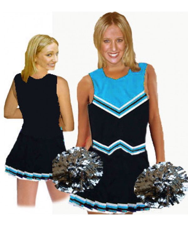 Cheerleader Uniform 9055 black,  sky blue,