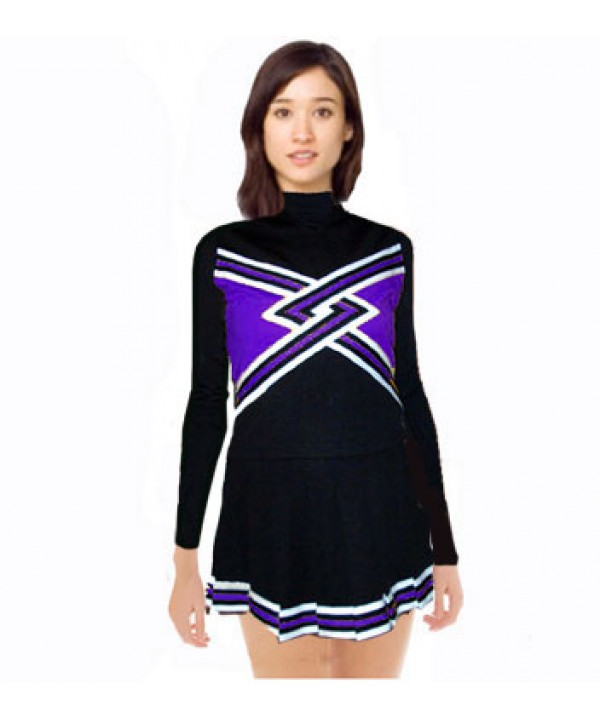Cheerleading Uniform 3 pcs 9058tp black,  purple,