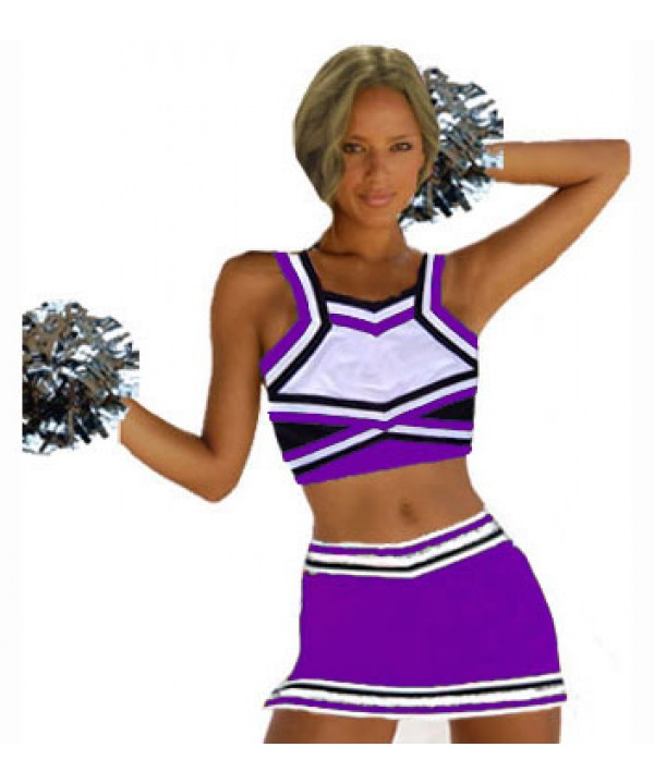 Cheerleader Uniform 9067b purple,  white,   black,