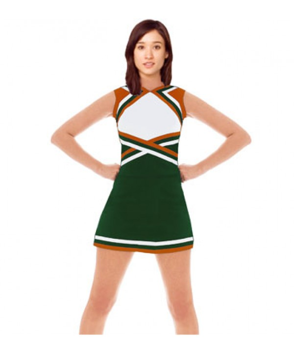 Cheerleader Uniform 9078 dark green,  white,   ora...