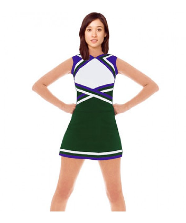 Cheerleader Uniform 9078 dark green,  white,   pur...