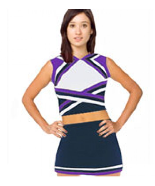 Cheerleader Uniform 9078 navy,  white,   purple,