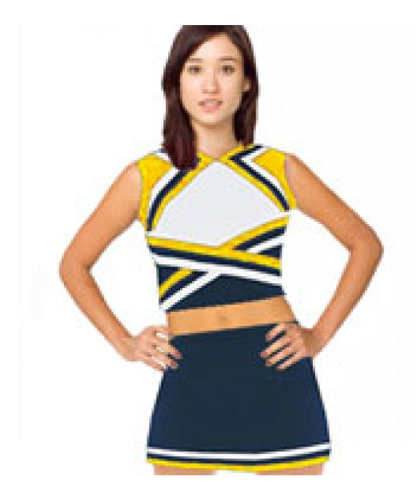 Cheerleader Uniform 9078b navy,  white,   yellow