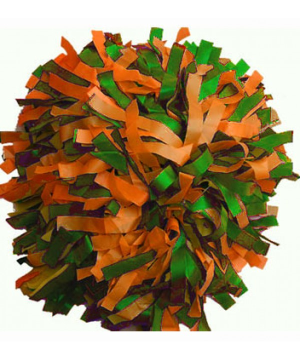 Pompom Plastic. 6in Green,Orange,