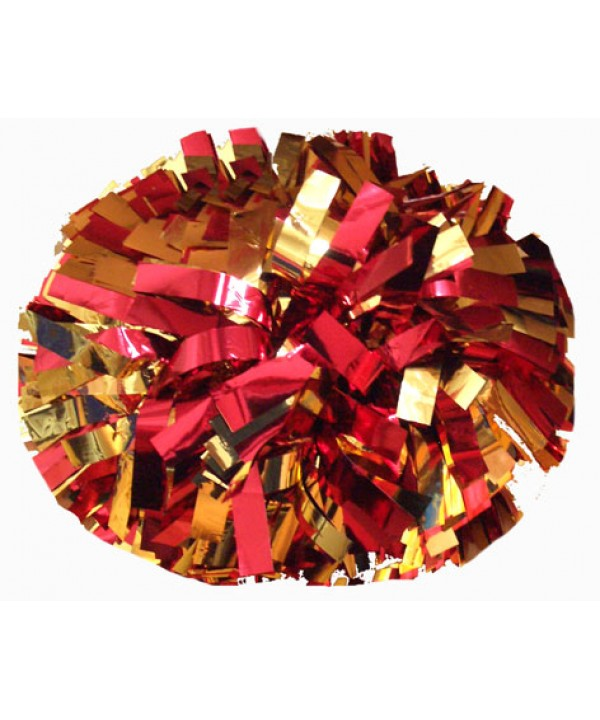 Pompom Metallic. 6in Gold Red