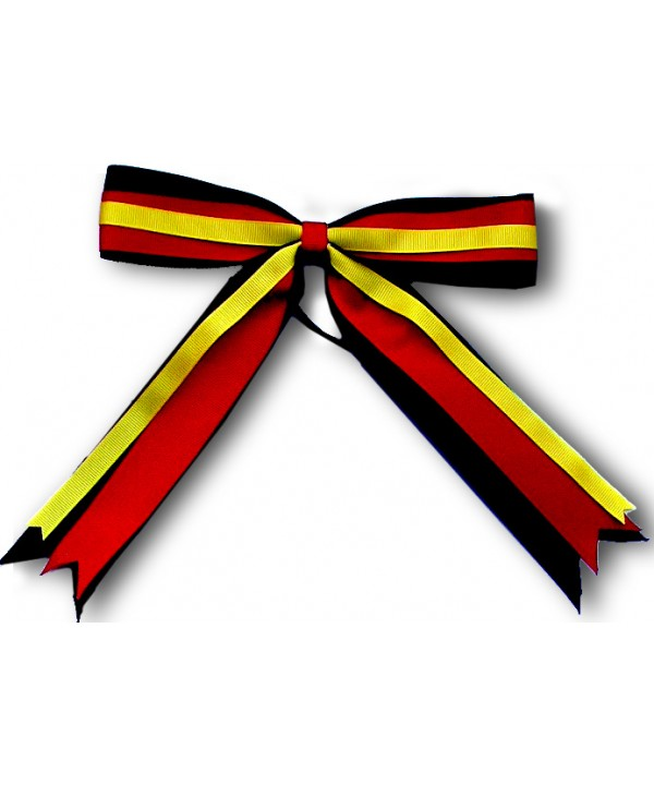 Cheer Hair Ribbon Black Red yellow