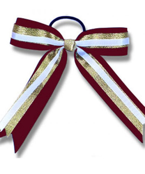 Cheer Hair Ribbon Maroon Gold White