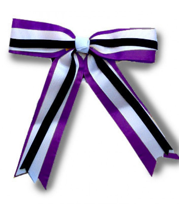 Cheer Hair Ribbon Purple White Black