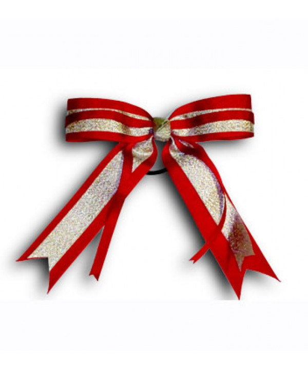 Cheer Hair Ribbon Red Silver Red