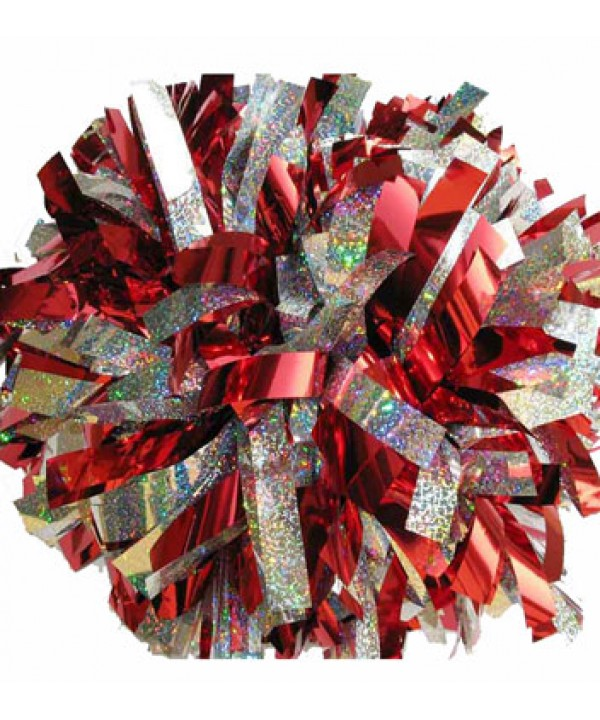 Pom pom Hollograpic--- Red Silver
